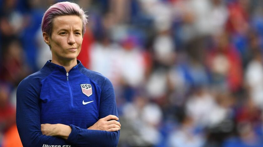 U.S. forward Megan Rapinoe looks on prior to the Women's World Cup semifinal match against England on July 2 in Lyon, France.