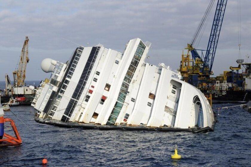 The Costa Concordia on Italy's Giglio island on Saturday.