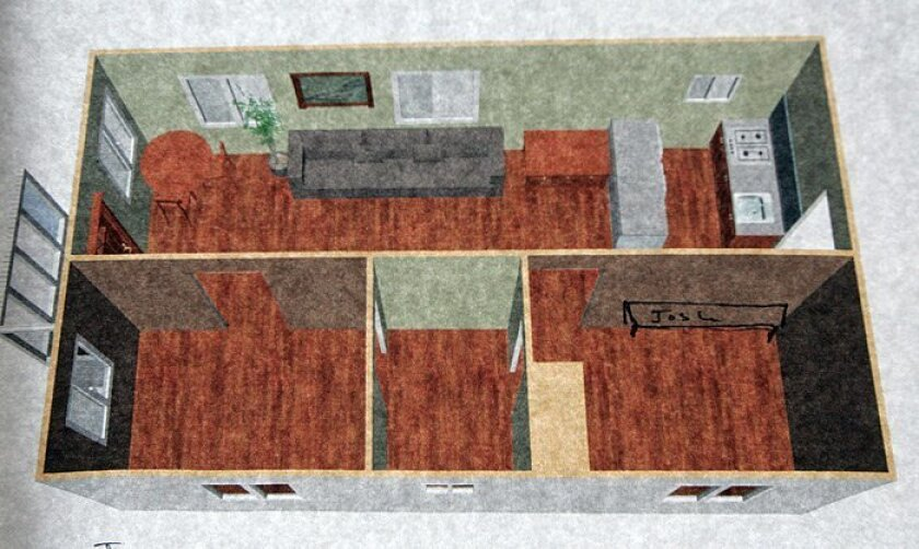 A computer-aided design made by a student shows the floor plan of the 600-square-foot Ocean Beach home of High Tech High instructor Josh Saxe, which served as a makeshift classroom for the students in their home design class.