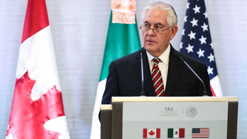 Secretary of State Rex Tillerson met with the Mexican and Canadian foreign ministers about trying to renegotiate the NAFTA agreement.