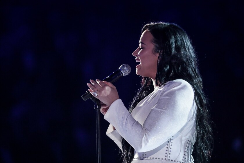 LOS ANGELES, CA - January 26, 2020: Demi Lovato performs at the 62nd GRAMMY Awards at STAPLES Center in Los Angeles, CA. (Robert Gauthier / Los Angeles Times)