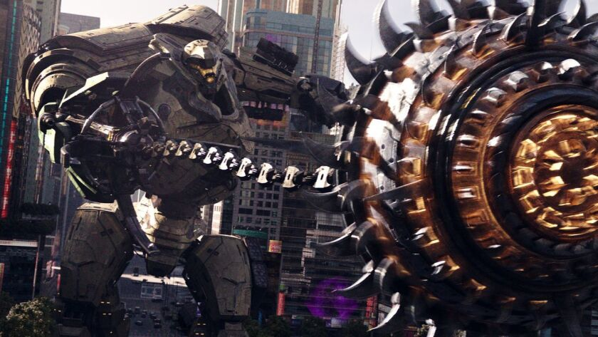 "Jaeger mech ""Bracer Phoenix"" in ""Pacific Rim Uprising."" The globe-spanning conflict between otherworldly monsters of mass destruction and the human-piloted super-machines built to vanquish them was only a prelude to the all-out assault on humanity."