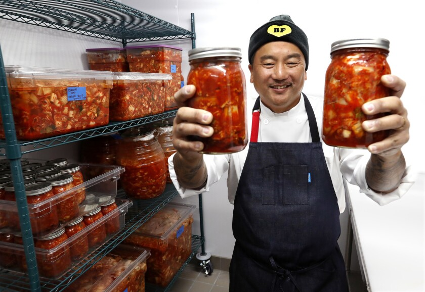 LAS VEGAS, NEVADA-DECEMBER 19, 2018: Chef Roy Choi is photographed inside the kimchi room, while gi