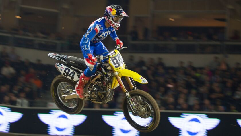 Ken Roczen hits a jump during the 2016 Supercross competition at Petco Park.
