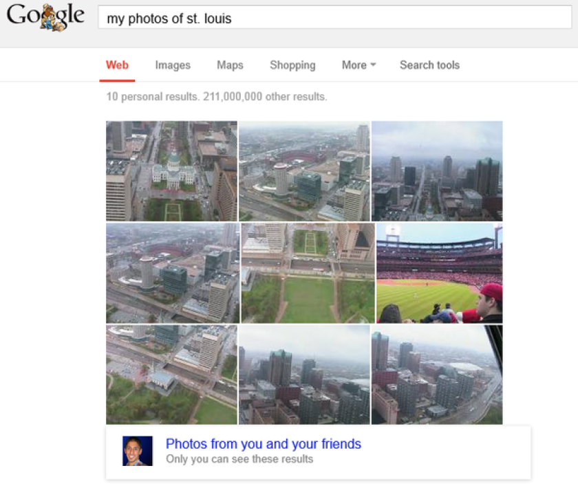 A search for photos of St. Louis successfully returned pictures from my Google+ account of downtown St. Louis.