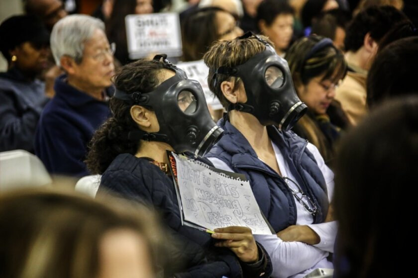 Residents near Southern California Gas Co.'s Aliso Canyon natural gas storage field attend a hearing about the disaster.