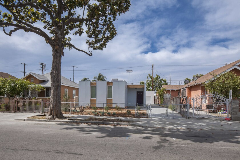 Prefab housing, such as these units in Los Angeles, could help reduce California's housing shortage.