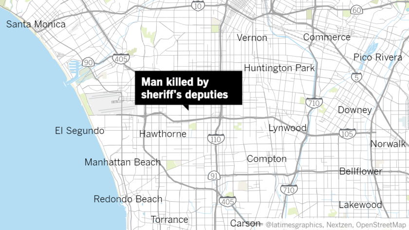 """Map with a label that reads, """"Man killed by sheriff's deputies,"""" pointing to a spot just east of Inglewood"""