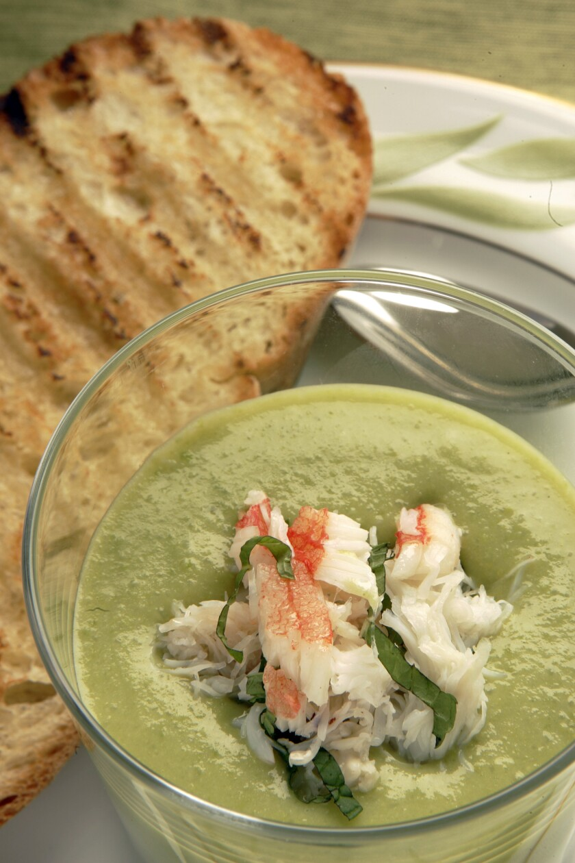 Chilled sweet pea bisque with Dungeness crab and mint