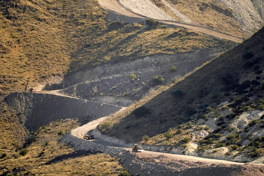 A pathway cleared by explosives to make way for border wall construction in Guadalupe Canyon, Ariz.