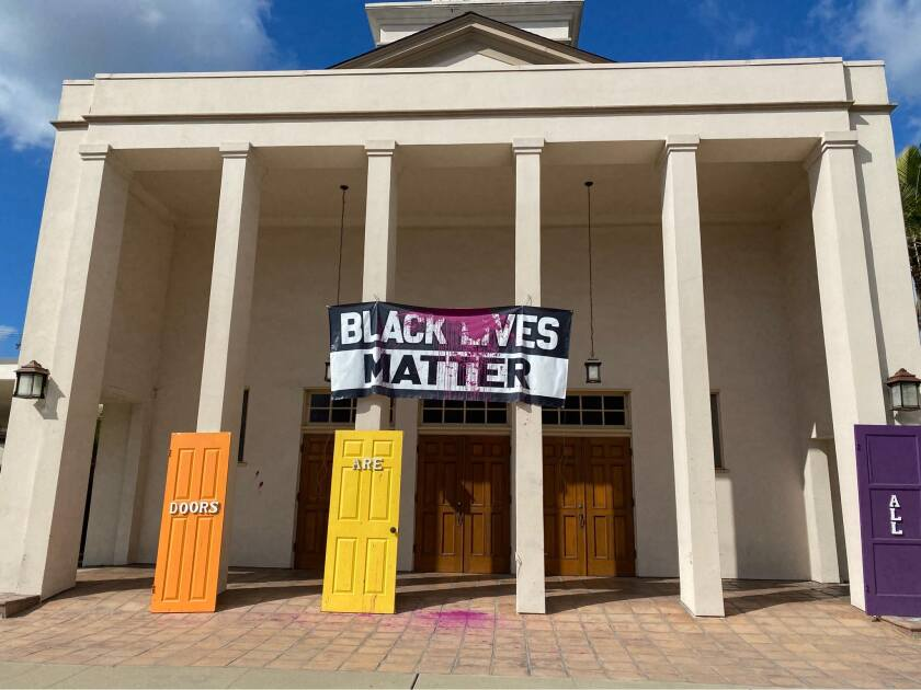 A Black Lives Matter banner at University Christian Church was vandalized with paint.