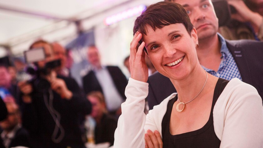 Frauke Petry, chairwoman of Alternative for Germany, a nationalist, anti-immigration party, reacts as election results come in on Sunday in Berlin.