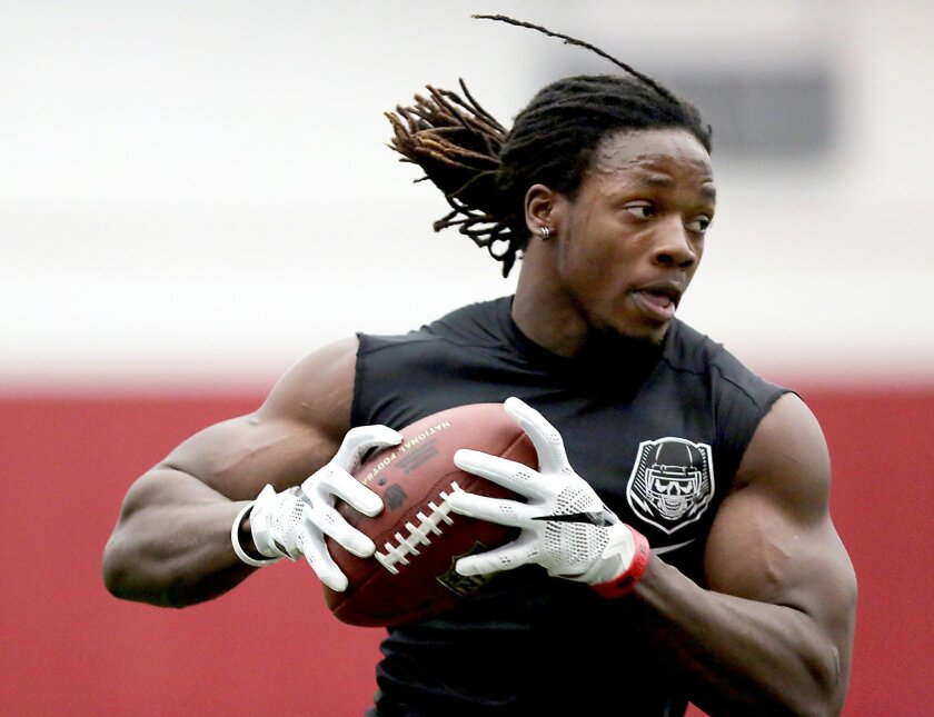 Former Wisconsin running back Melvin Gordon performs a receiving drill during Wisconsin's Pro Day event Wednesday, March 11, 2015, in Madison, Wis. The event offers players the chance to showcase their talents for scouts and executives from the NHL ahead of the league's upcoming draft. (AP Photo/Wi