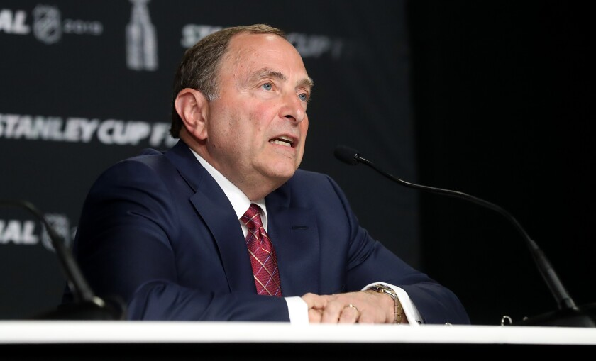 NHL commissioner Gary Bettman speaks before Game 1 of the 2019 NHL Stanley Cup finals on May 27, 2019.