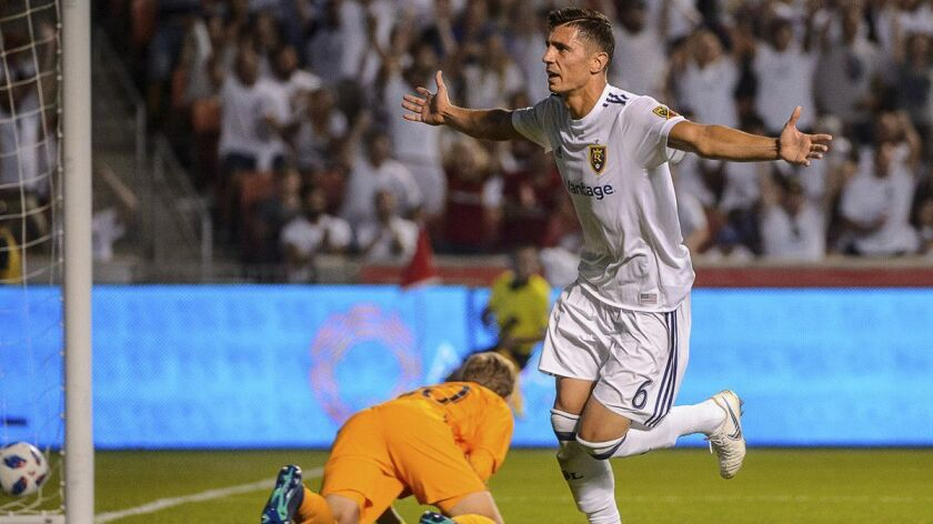 Real Salt Lake midfielder Damir Kreilach (6) scores at the end of the first half against the Chicago