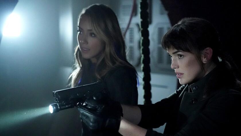 "Chloe Bennet, left, and Elizabeth Henstridge in ""Marvel' s Agents of SHIELD"" on ABC."