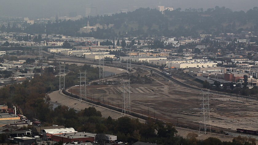 An overhead view of the 247-acre former railyard with over two miles of Los Angeles River frontage located opposite Elysian Park.