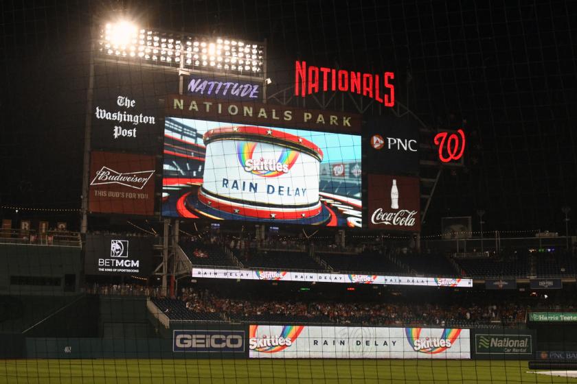 The scoreboard at Nationals Park during Saturday's rain delay.