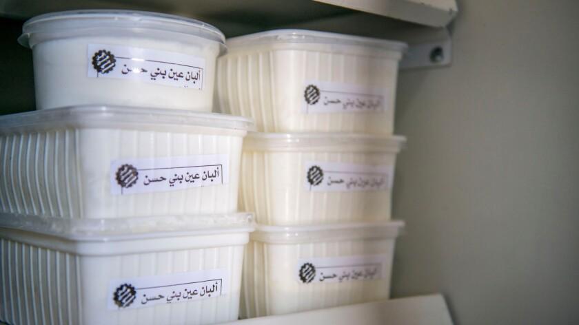 Dairy products in Zainab Khazaleh's new refrigerator.