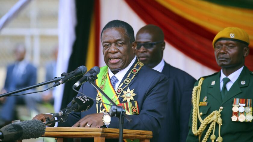 Zimbabwean President elect Emmerson Mnangagwa delivers his speech during Zimbabwe Defense Forces Day