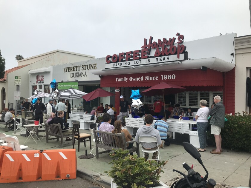 Harry's Coffee Shop in La Jolla reopened June 18 after a five-week closure caused when a car crashed into it.