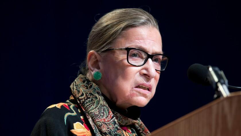 Supreme Court Justice Ruth Bader Ginsburg speaks at Brandeis University in Waltham, Mass. on Jan. 28.
