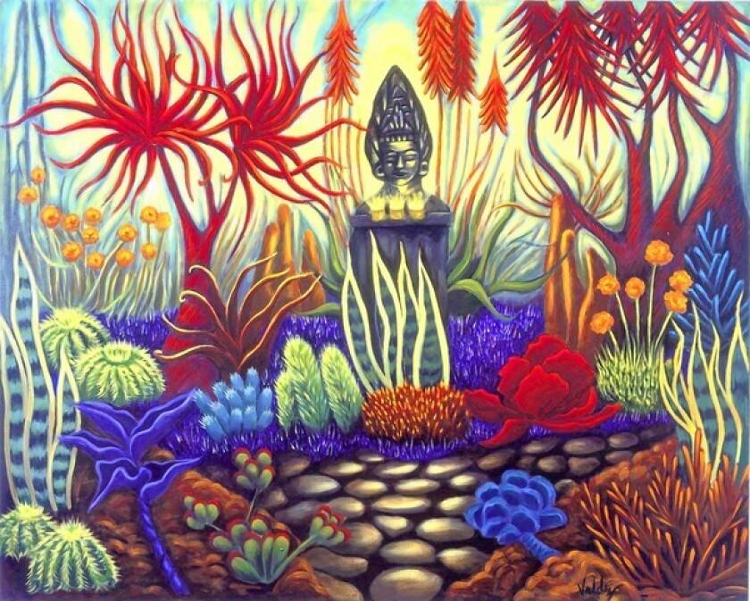 Patssi Valdez, The Enchanted Garden, 2005, Acrylic on canvas.