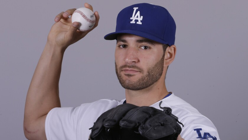 Dodgers pitcher Brandon Beachy poses for a photo during media day in spring training.