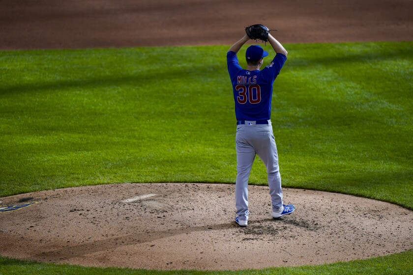Chicago Cubs starting pitcher Alec Mills reacts after throwing a no hitter at a baseball game against the Milwaukee Brewers Sunday, Sept. 13, 2020, in Milwaukee. The Cubs won 12-0. (AP Photo/Morry Gash)