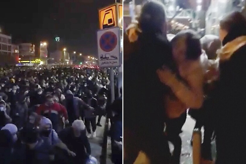 Photos from video purport to show violence against protesters in Iran.