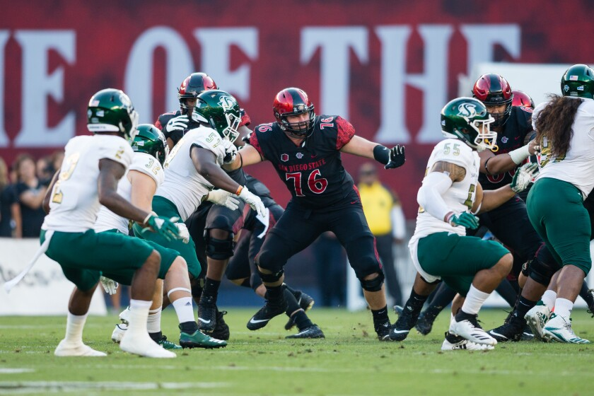 Zach Thomas (76) has re-earned a starting offensive line job at SDSU after suffering a torn ACL in the third game last season.