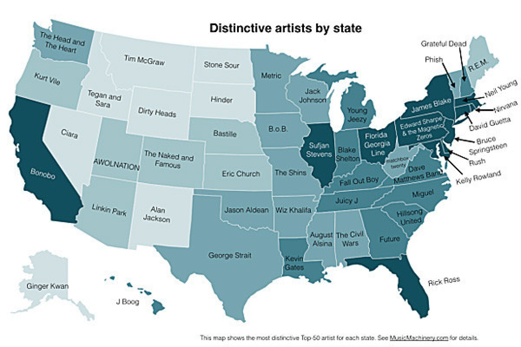 What Is The Map Of The United States.The United States Of Music Who Listens To What Where Map Los