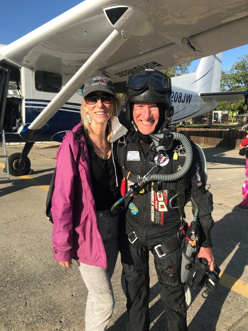 Jerry Jackson and wife Nina Jackson just before boarding an aircraft for the 30,000-foot record skydive.