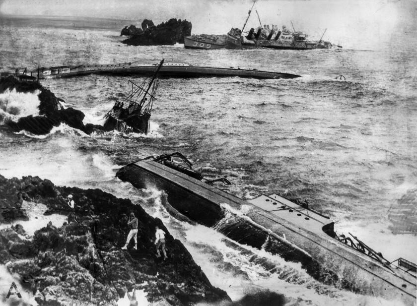 U.S. Navy destroyers on reefs near Point Arguello