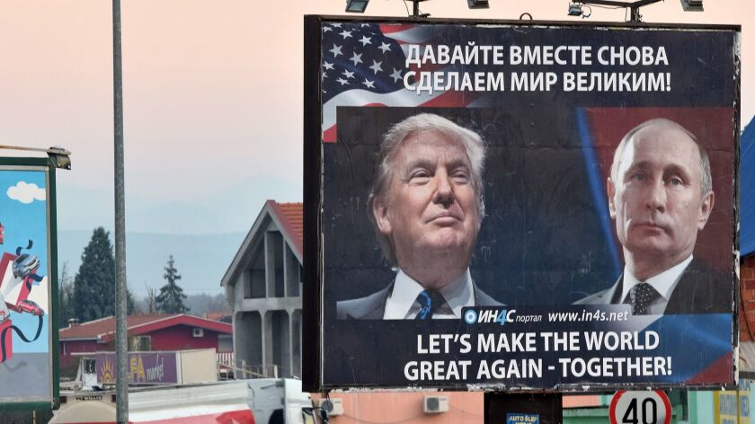 A billboard President Trump and Russian President Vladimir Putin in the town of Danilovgrad, Montenegro, on Nov. 16.