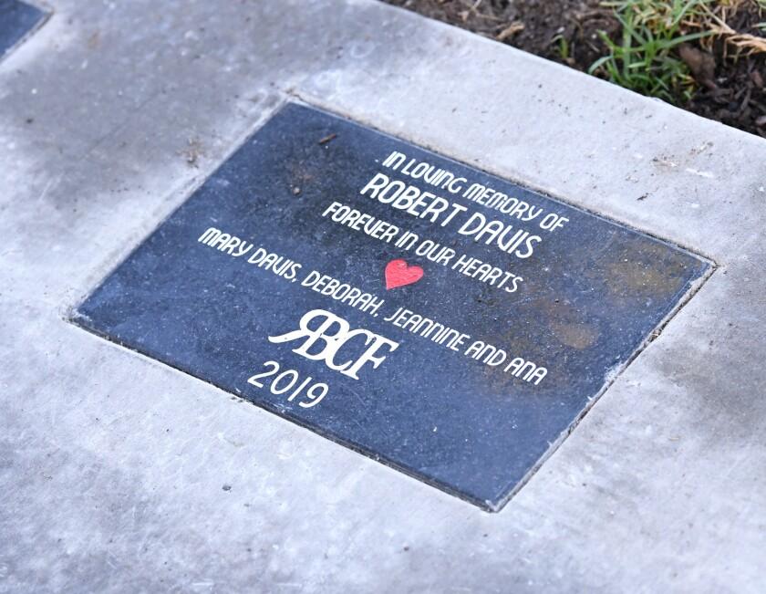 A Pathway of Pride plaque in Webb Park.
