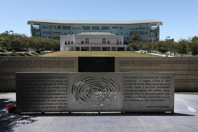 A memorial for Sen. Robert F. Kennedy fronts the site of what was the Ambassador Hotel, where he was assassinated in 1968.