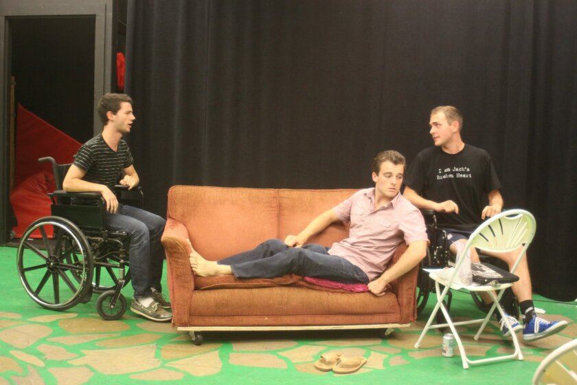 During rehearsal, Ted Hunter, Felix Murphet and Lucas Brahme practice one of the more playful scenes.