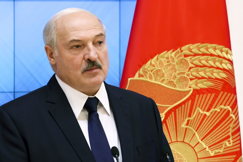 Belarusian President Alexander Lukashenko speaks during a meeting with the country's political activists in Minsk, Belarus, Wednesday, Sept. 16, 2020.(Maxim Guchek/BelTA Pool Photo via AP)