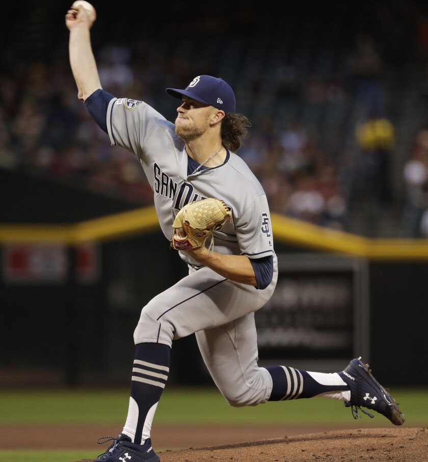 Padres rookie Chris Paddack pitches against the Diamondbacks on Friday at Chase Field.