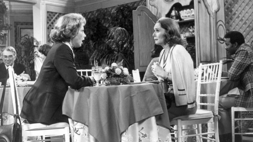 Cathryn Damon, left, as Mary Campbell and Katherine Helmond as Jessica Tate in the seventies series