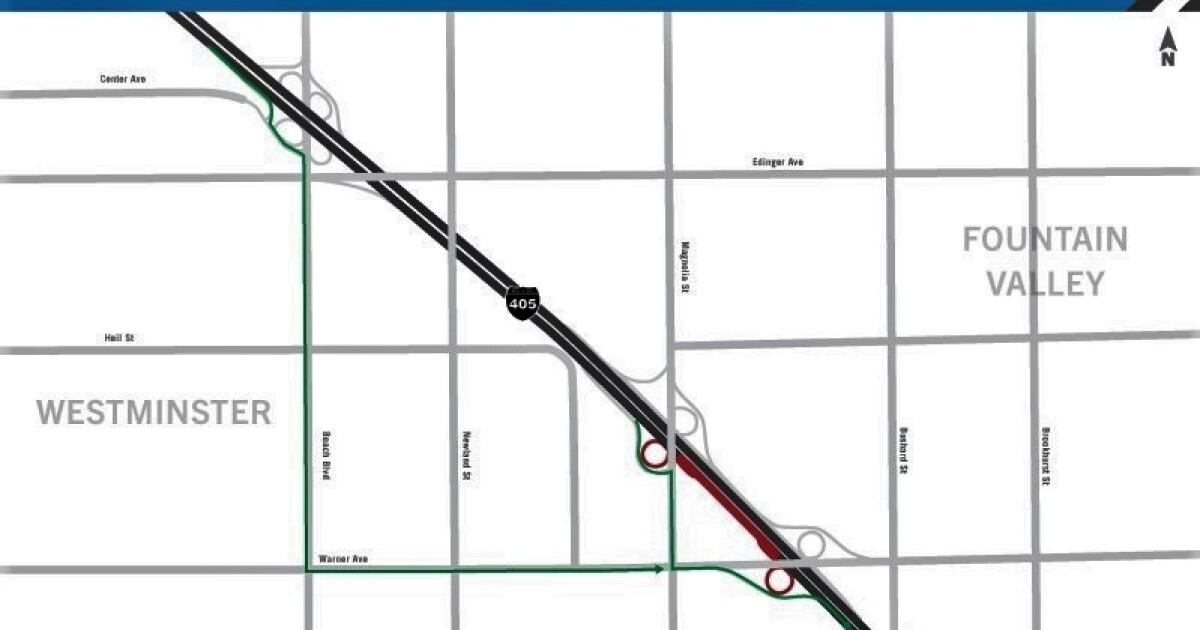 what part of the 405 freeway will be closed