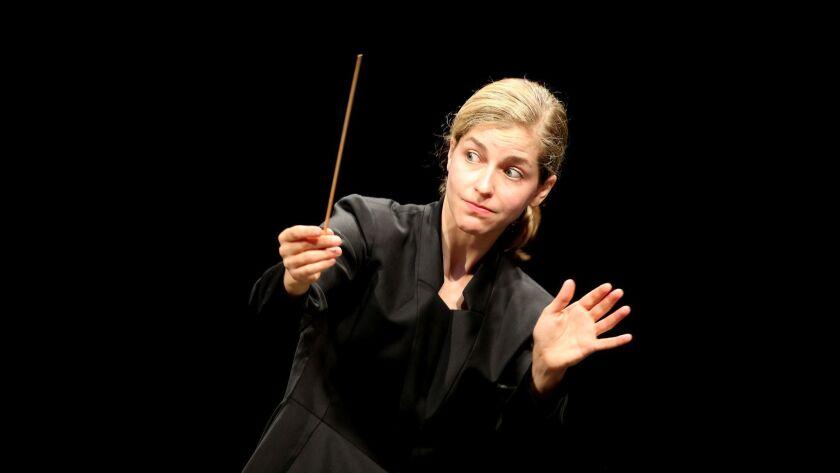 Karina Canellakis conducting the Los Angeles Philharmonic at the Hollywood Bowl last summer.