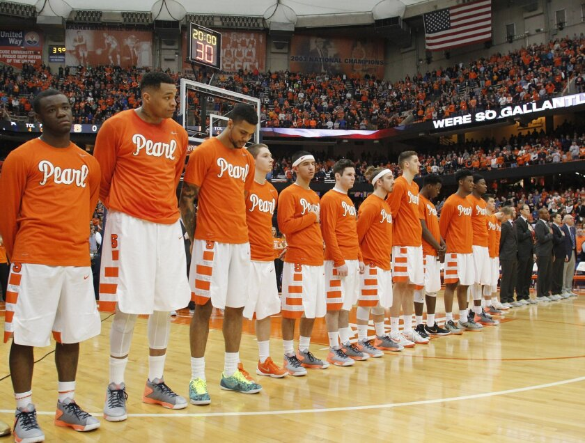 "FILE - In this Jan. 30, 2016 file photo, Syracuse players wear shirts in support of Syracuse basketball great Dwayne ""Pearl"" Washington during the National Anthem before the start of an NCAA college basketball game against Georgia Tech in Syracuse, N.Y. Washington, who went from New York City playg"