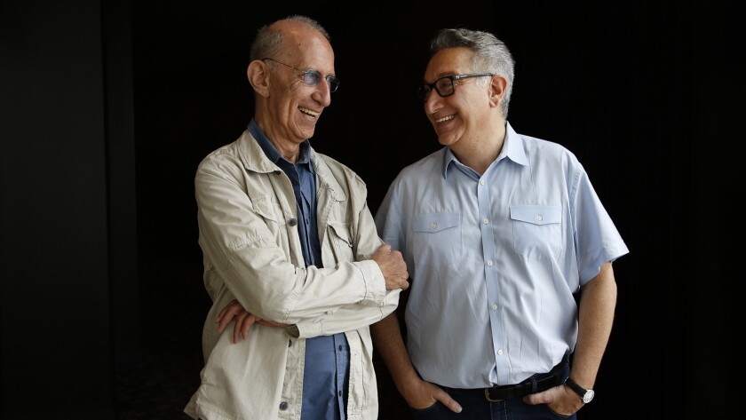 Playwright Martin Sherman, left, and director Moises Kaufman at the Mark Taper Forum.