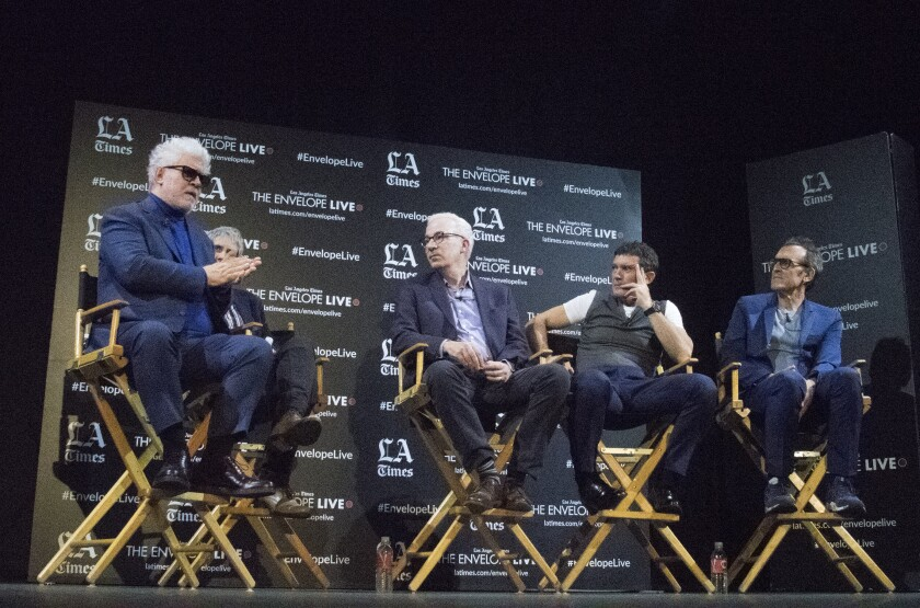 "Pedro Almodóvar, The Times' Glenn Whipp, Antonio Banderas and Alberto Iglesias at the Envelope Live screening of ""Pain and Glory."""