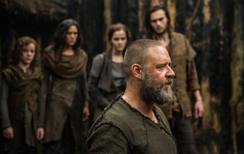 "Russell Crowe, front, in the box-office winner ""Noah."""