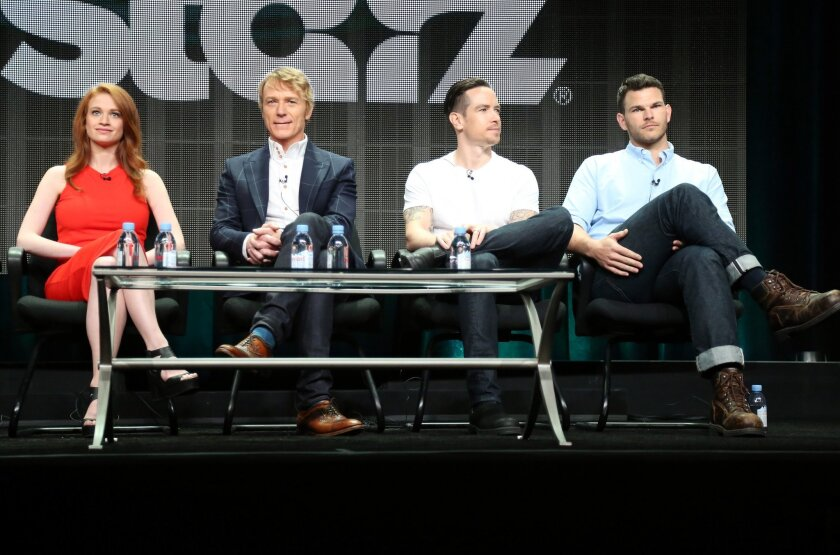 """Actors Sarah Hay, Ben Daniels, Sascha Radetsky and Josh Helman speak onstage during the """"Flesh and Bone"""" panel discussion at the Starz portion of the 2015 Summer TCA Tour."""