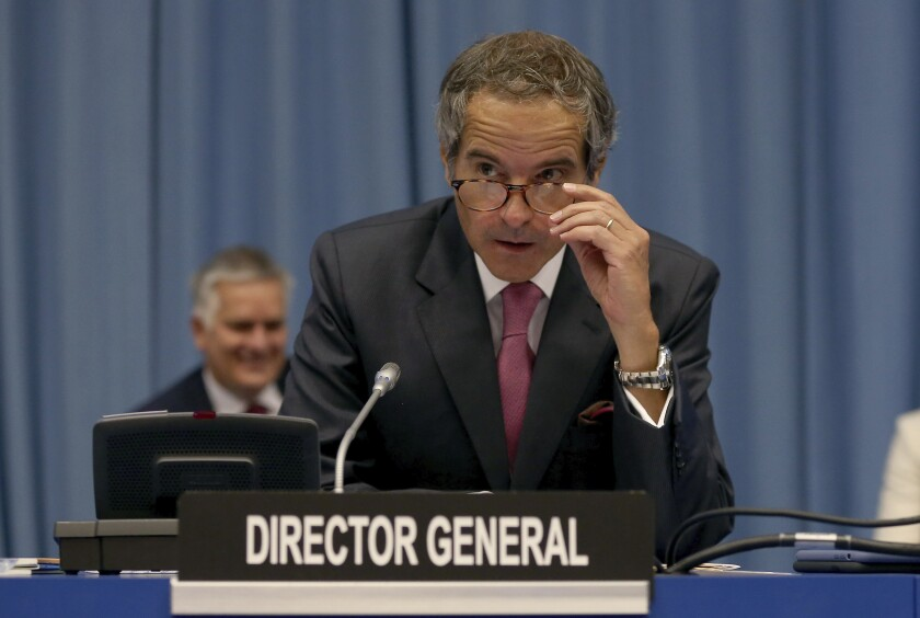 Director General of International Atomic Energy Agency, IAEA, Rafael Mariano Grossi from Argentina, looks prior to the start of the IAEA board of governors meeting at the International Center in Vienna, Austria, Monday, Sept. 14, 2020. (AP Photo/Ronald Zak)