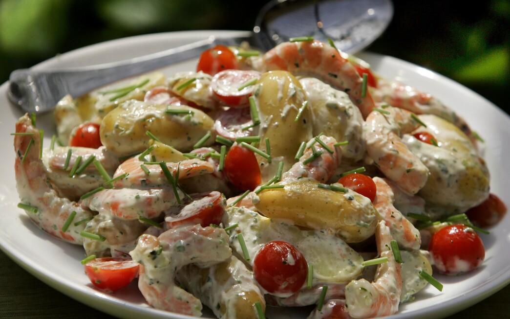 Potato and shrimp salad with green goddess dressing